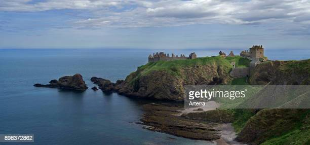 Dunnottar Castle ruined medieval fortress near Stonehaven on cliff along the North Sea coast Aberdeenshire Scotland UK