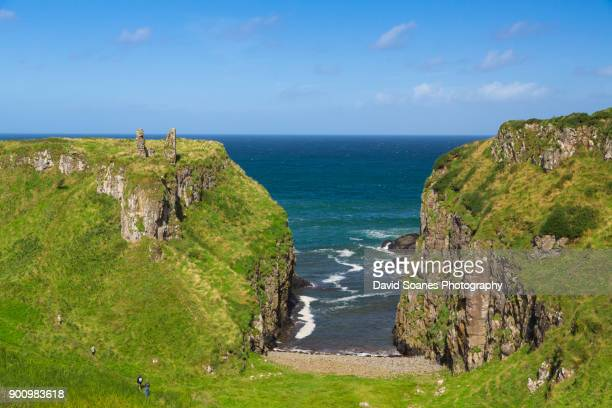 dunseverick castle in antrim, northern ireland - county antrim stock pictures, royalty-free photos & images