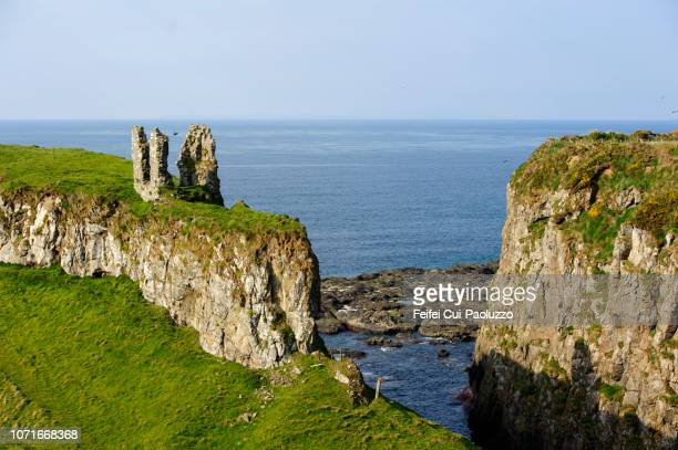 dunseverick castle, northern ireland - irish sea stock pictures, royalty-free photos & images