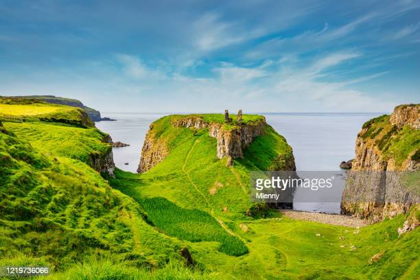 dunseverick coastal landscape northern ireland causeway road - ulster province stock pictures, royalty-free photos & images