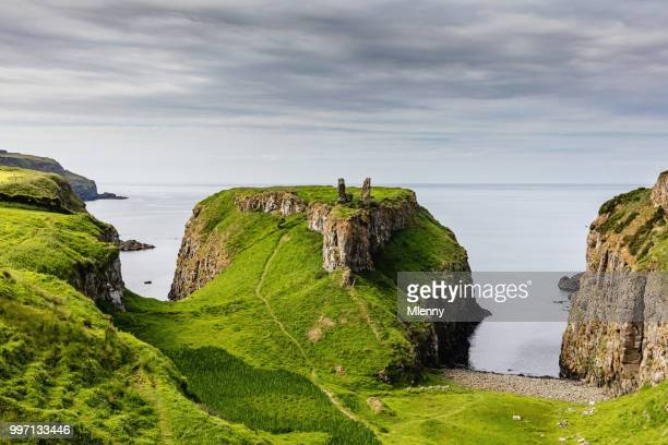 dunseverick northern ireland causeway road coastal landscape - northern ireland stock photos and pictures