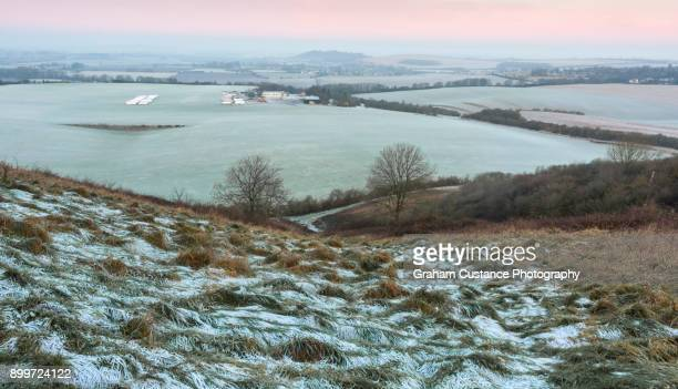 dunstable downs in winter - bedfordshire stock photos and pictures