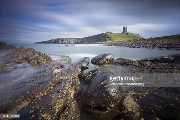 dunstanburgh castle bathed in afternoon sunlight with rocky coastline in foreground, embleton bay, near alnwick, northumberland, england, united kingdom, europe - alnwick castle stock photos and pictures