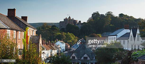 dunster village and castle. - castle stock pictures, royalty-free photos & images