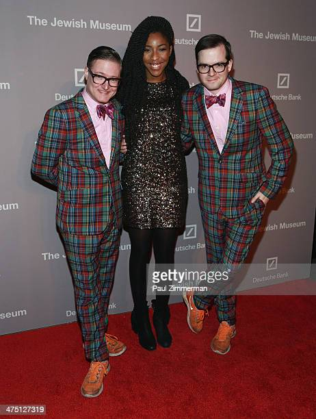 DJ duo AndrewAndrew and actress Jessica Williams attend the Jewish Museum's Purim Ball 2014 at Park Avenue Armory on February 26 2014 in New York City