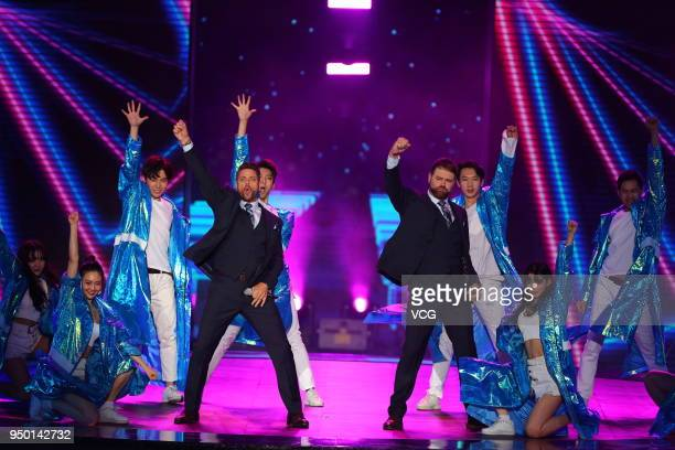 Duo Boyzlife perform at the Tiantan Award ceremony during the closing ceremony of the 8th Beijing International Film Festival on April 22 2018 in...