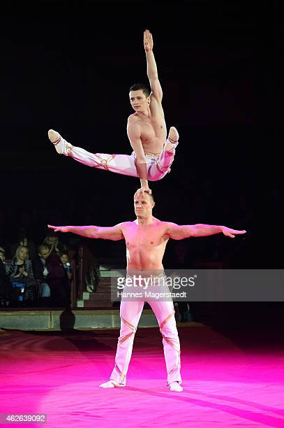 Duo Kavas perform during the 'Wunderwelt der Manege' Circus Krone Premiere on February 1 2015 in Munich Germany