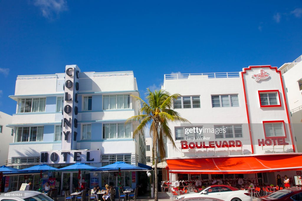 Duo Of Art Deco Small Hotels On Ocean Drive Miami Beach Stock Photo
