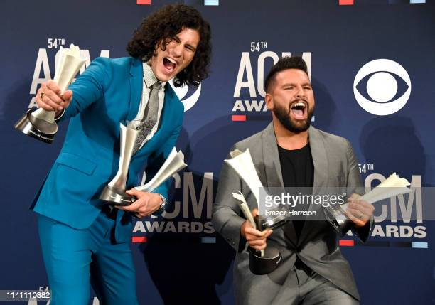 Duo of the Year award winners Dan Shay pose in the press room during the 54th Academy Of Country Music Awards at MGM Grand Garden Arena on April 07...