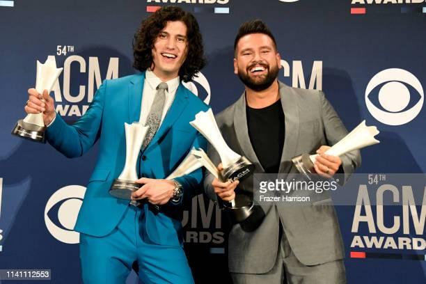 Duo of the Year award winners Dan Smyers and Shay Mooney of Dan Shay pose in the press room during the 54th Academy Of Country Music Awards at MGM...