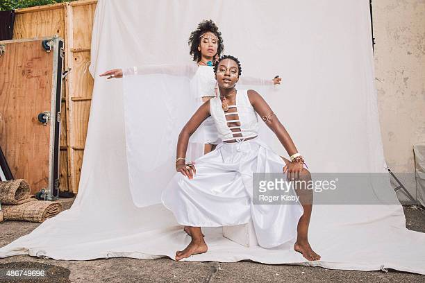 Duo Oshun pose for a portrait backstage at the Afropunk Festival at Commodore Barry Park on August 22 2015 in Brooklyn New York