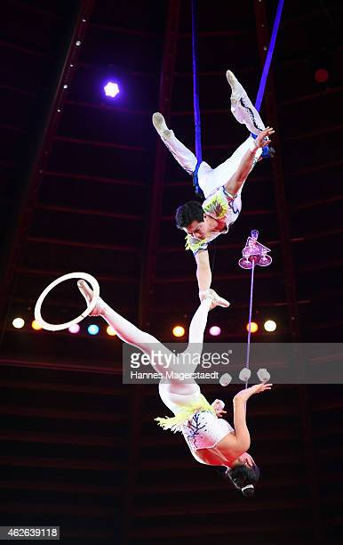 Duo Pjoengyang perform during the 'Wunderwelt der Manege' Circus Krone Premiere on February 1 2015 in Munich Germany