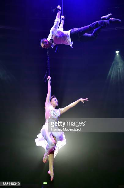 Duo Sky Angels perform during the 'AllezHopp' premiere at Circus Krone on February 1 2017 in Munich Germany
