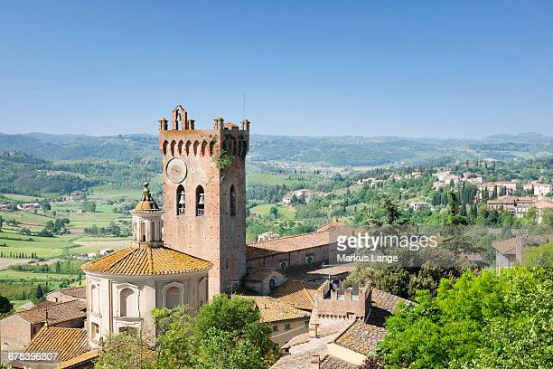 duomo and campanile, san miniato, pisa region, tuscany, italy, europe - san miniato stock-fotos und bilder