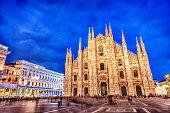Duomo di Milano and Galleria Vittorio Emanuele at Night, Italy