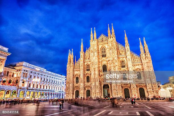 duomo di milano and galleria vittorio emanuele at night, italy - cathedral stock pictures, royalty-free photos & images