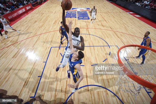 Duop Reath of the Dallas Mavericks dunks the ball against the Golden State Warriors during the 2018 Las Vegas Summer League on July 9 2018 at the...