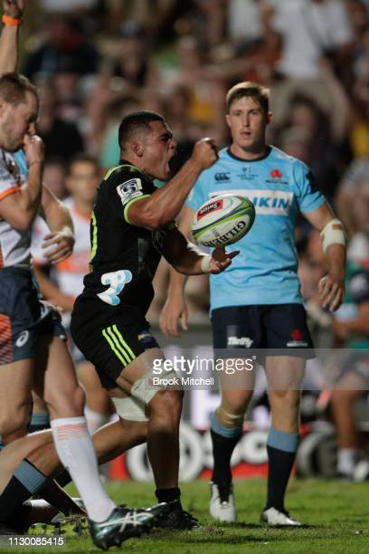 Du'Plessis Kirifi of the Hurricanes celebrates a try during the round one Super Rugby match between the Waratahs and the Hurricanes at Brookvale Oval...