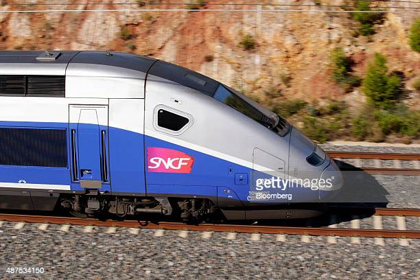 A TGV duplex highspeed train operated by Societe Nationale des Chemins de Fer heads towards the Llobregat river viaduct in Llers Spain on Wednesday...