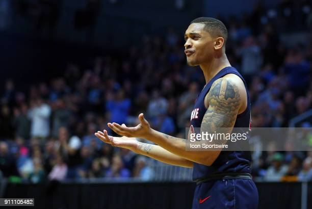 Duquesne Dukes forward Kellon Taylor reacts to a call during a college basketball game between Duquesne Dukes and Rhode Island Rams on January 27 at...