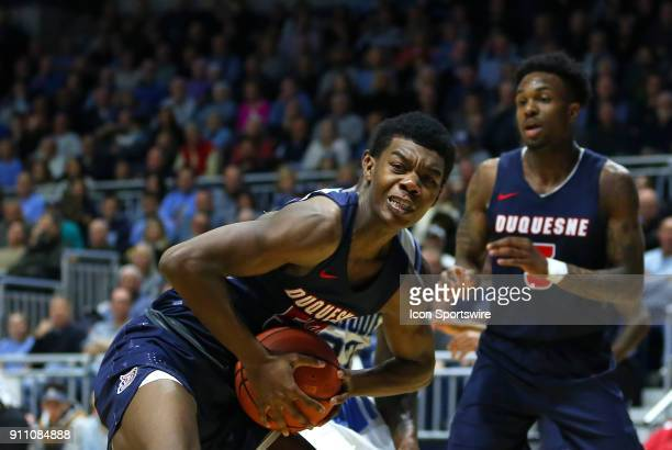 Duquesne Dukes guard Eric Williams Jr grabs a rebound during a college basketball game between Duquesne Dukes and Rhode Island Rams on January 27 at...