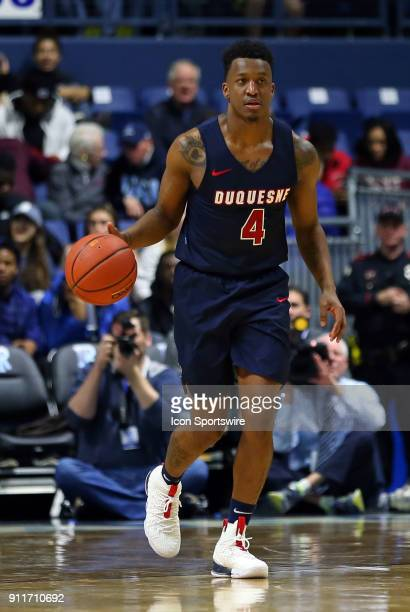 Duquesne Dukes guard Rene CastroCaneddy dribbles the ball up court during a college basketball game between Duquesne Dukes and Rhode Island Rams on...