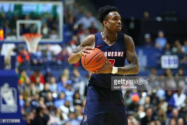 Duquesne Dukes guard Tarin Smith in action during a college basketball game between Duquesne Dukes and Rhode Island Rams on January 27 at the Ryan...