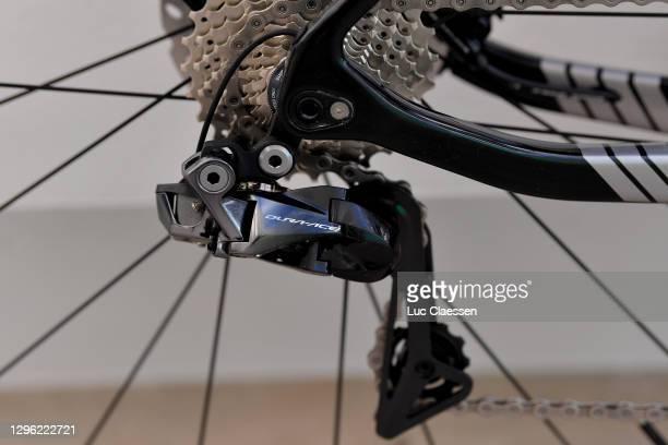 Dura-Ace Derailleur pulley / Cassete / Eddy Merckx 525 Bike / Detail view / during the Team Sport Vlaanderen - Baloise 2021 - Training Camp /...