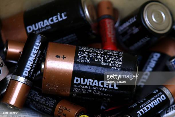 Duracell batteries sit in a recycling bin at a Batteries Plus store on November 13 2014 in San Rafael California Berkshire Hathaway Inc announced...