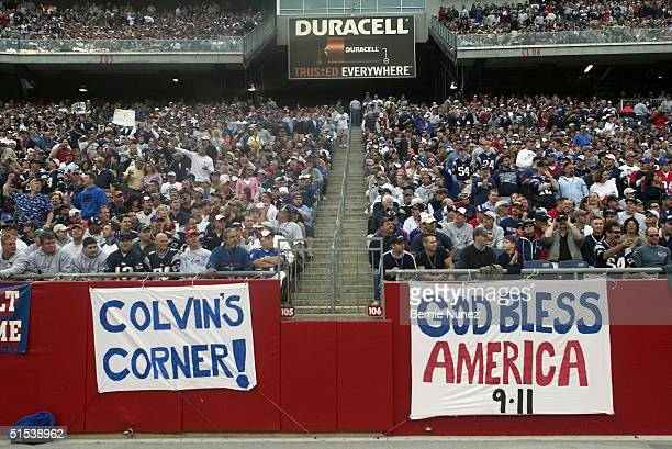 Duracell sign above the fans during the game between the New England Patriots and the Miami Dolphins at Gillette Stadium on October 10, 2004 in...