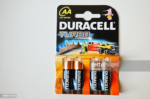 duracell turbo aa batteries - duracell stock pictures, royalty-free photos & images
