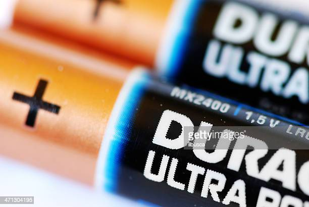 duracell ultra power batteries type aaa close-up macro. - duracell stock pictures, royalty-free photos & images