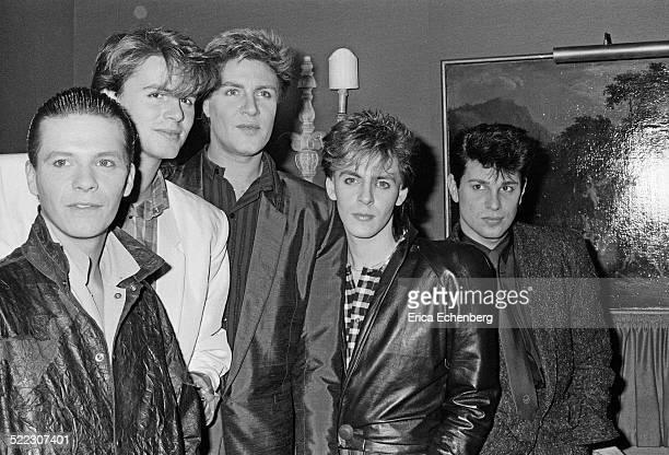 Duran Duran at a press call in a London hotel November 1983 Andy Taylor John Taylor Simon Le Bon Nick Rhodes Roger Taylor