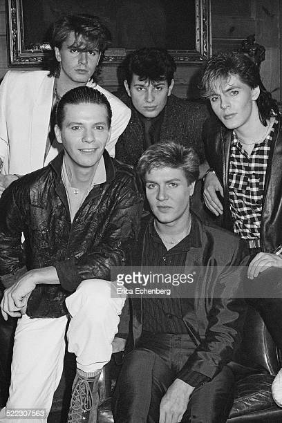 Duran Duran at a press call in a London hotel November 1983 John Taylor Andy Taylor Roger Taylor Simon Le Bon and Nick Rhodes