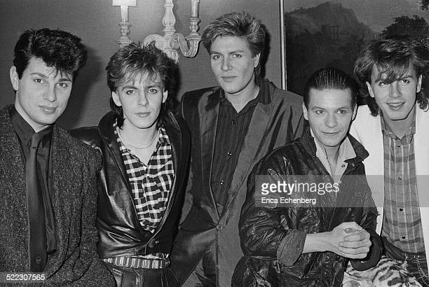 Duran Duran at a press call in a London hotel November 1983 Roger Taylor Nick Rhodes Simon Le Bon Andy Taylor and John Taylor