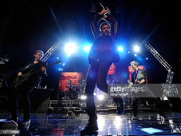 Duran Duran bassist John Taylor, singer Simon Le Bon and guitarist Dom Brown perform at The Joint inside the Hard Rock Hotel & Casino as the band...