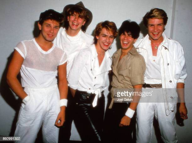 Duran Duran poses backstage during the band's second US tour at the Kabuki Theater on July 23 1982 in San Francisco California