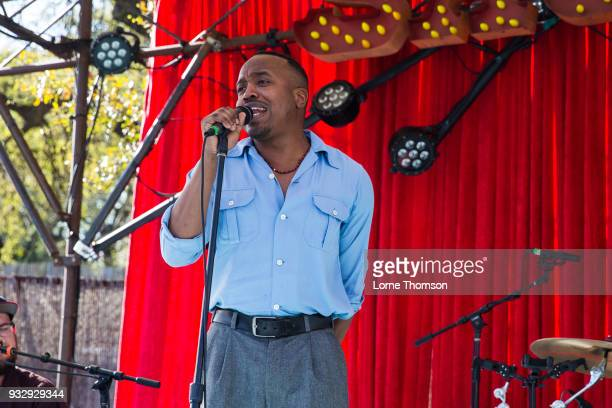 Durand Jones of Durand Jones And The Indications performs at Hotel San Jose on March 16 2018 in Austin Texas