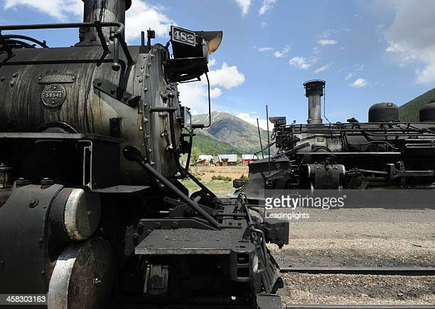 durango and silverton narrow gauge railroad - cowcatcher stock pictures, royalty-free photos & images