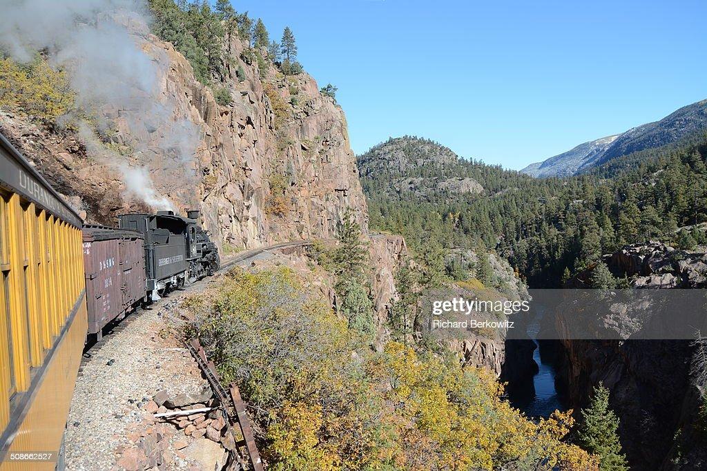 Durango Silverton Steam Train over Mountain Ledge