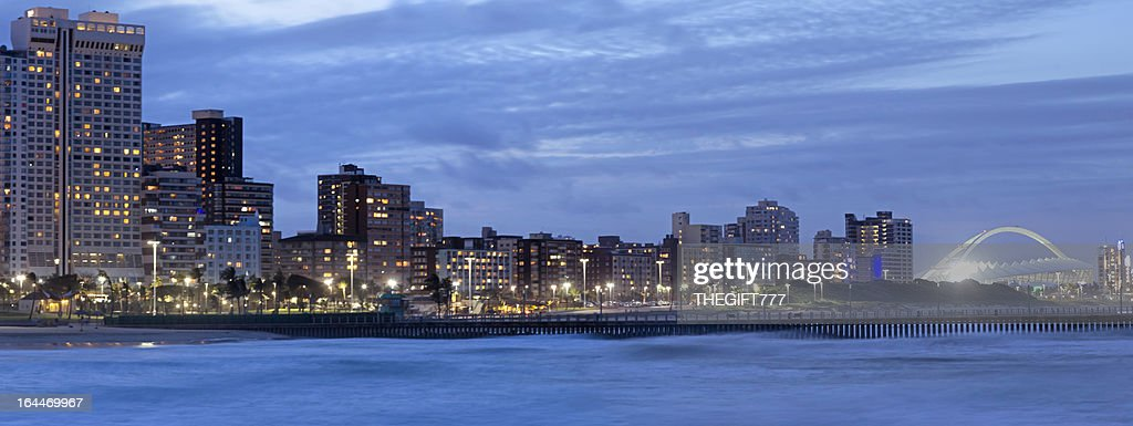 Durban City Evening with Stadium : Stock Photo