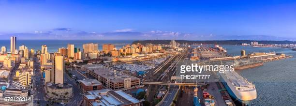Durban cityscape centre panorama with the harbour