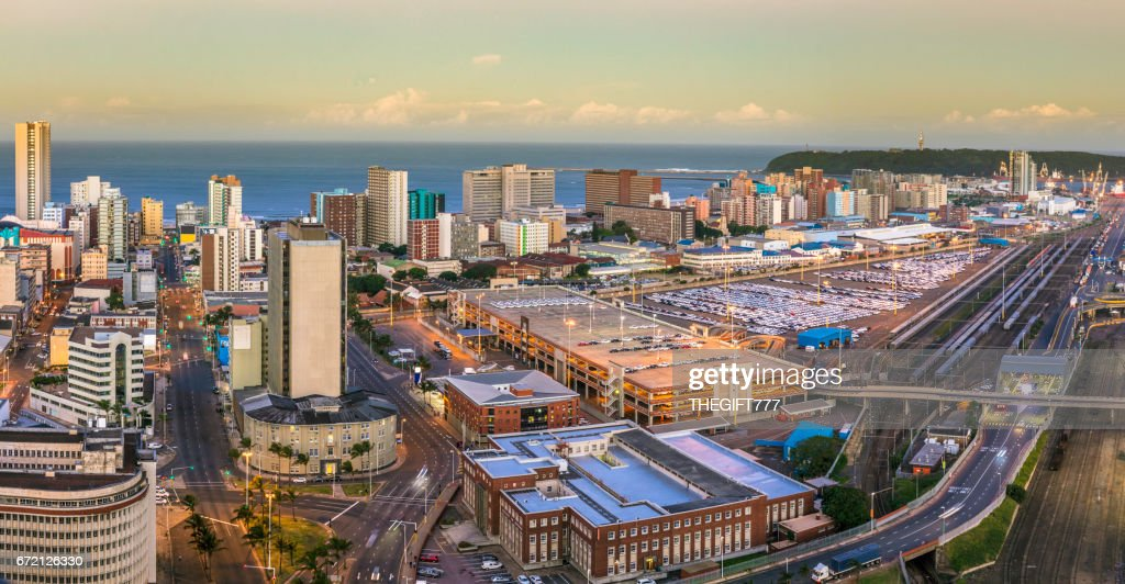 Durban cityscape centre panorama with the harbour : Stock Photo