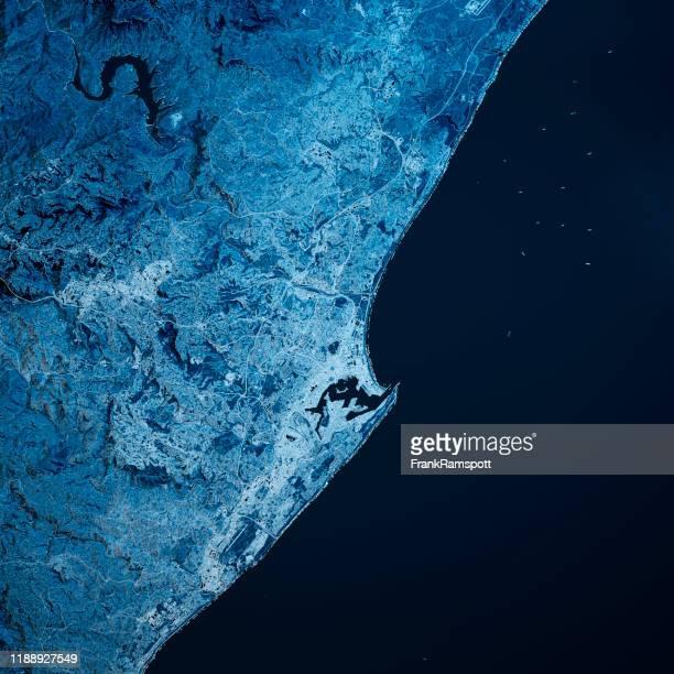 durban south africa 3d render map blue top view sept 2019 - frankramspott foto e immagini stock