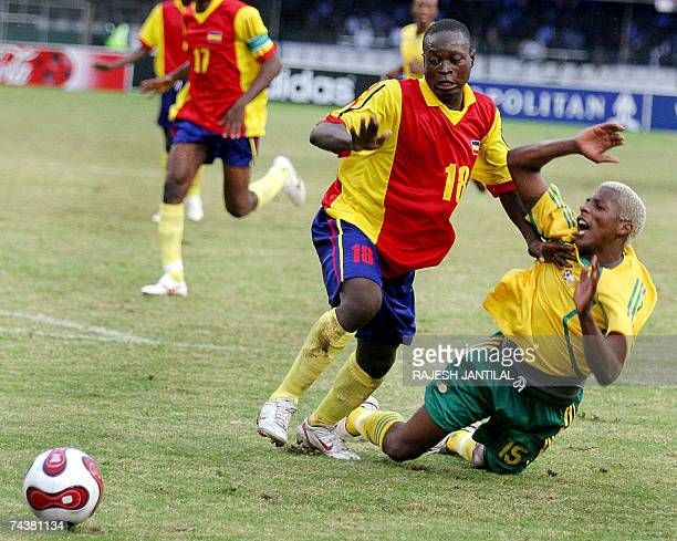 Bafana Bafana player Sibisiso Zuma fights for the ball against Chadian Cesa Madalngue during their African Nation Cup 2008 Group 11 qualifying in...