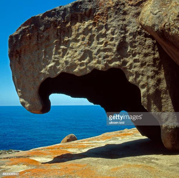 Durch Erosion entstandenes Kunstwerk der Natur die Remarkable Rocks auf Kangaroo Island in South Australia rot gefaerbt durch Krustenflechten und...