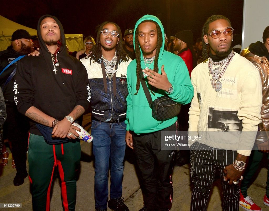 DJ Durel, Quavo, Takeoff and Offset of The Group Migos attend Trap Du Soleil celebrating YFN Lucci on February 13, 2018 in Atlanta, Georgia.