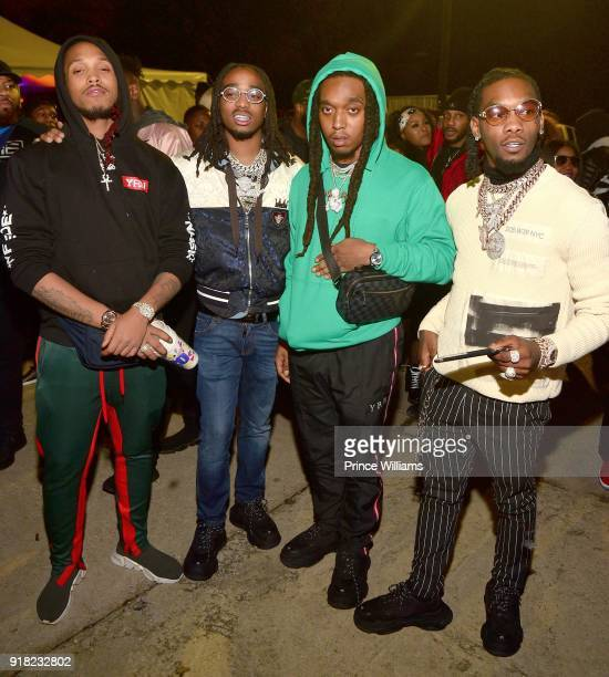 Durel Quavo Takeoff and Offset of The Group Migos attend Trap Du Soleil celebrating YFN Lucci on February 13 2018 in Atlanta Georgia