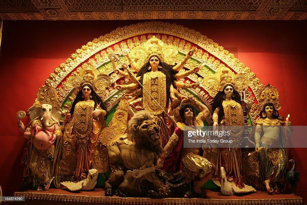 Durga idol at a puja pandal at Behala in Kolkata