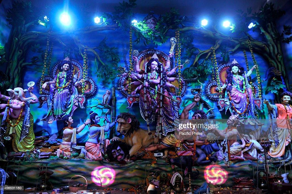 Durga idol displayed at Shideshori Temple in Dhaka during the Durga Puja
